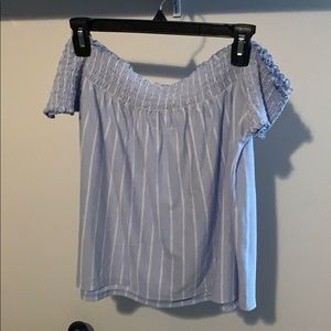 off the shoulder american eagle striped top!